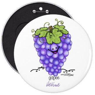 Fruit Cartoon - Grapes Button
