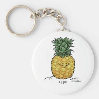 Fruit Cartoon - Pineapple fruit Basic Round Button Key Ring