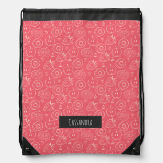 Fruit Cut in Half Pattern with Your Name Drawstring Bag