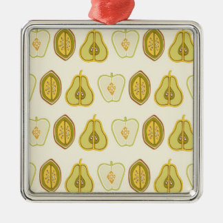 Fruit Design Apples Pears Avocados Kitchen Gifts Silver-Colored Square Decoration