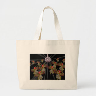 Fruit Flies Dancing Under The Disco Ball Large Tote Bag