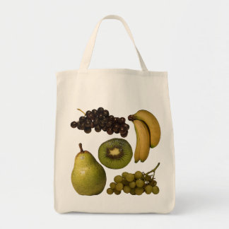 Fruit Grocery Bag - Grapes, Bananas, Kiwi, Pear