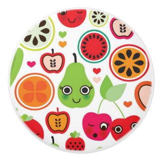 fruit kids illustration apple ceramic knob