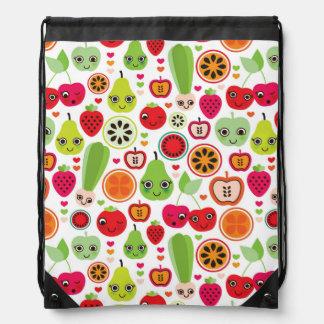 fruit kids illustration apple drawstring bag