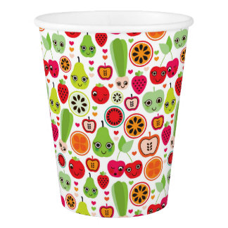 fruit kids illustration apple paper cup