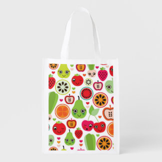 fruit kids illustration apple reusable grocery bag