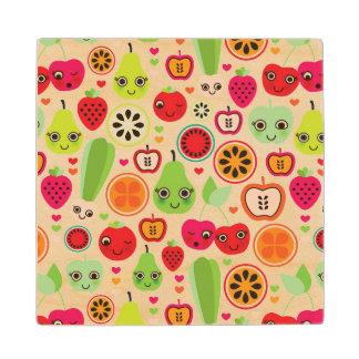 fruit kids illustration apple wood coaster