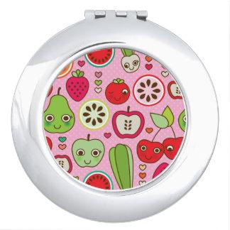 fruit kitchen illustration pattern compact mirror