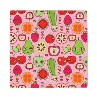 fruit kitchen illustration pattern wood coaster