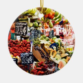 Fruit Market Round Ceramic Decoration