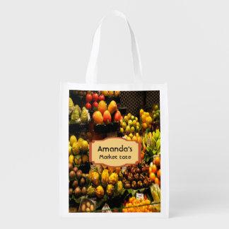 Fruit market shopping bag in yellow green brown