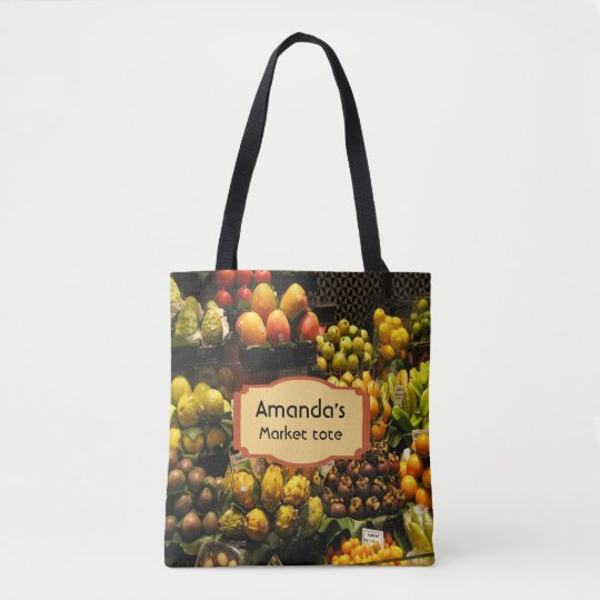 Fruit market tote bag in yellow green brown