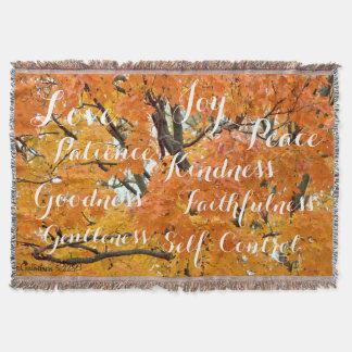Fruit of the Spirit, Inspirational Christian Fall Throw Blanket
