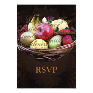 Fruit of the Spirit, Painted Brown Basket 9 Cm X 13 Cm Invitation Card
