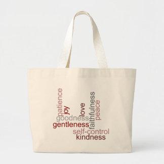Fruit of the Spirit Word Art Tote Bags