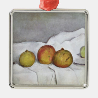 Fruit on a Cloth, c.1890 Silver-Colored Square Decoration
