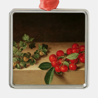 Fruit on the Table, 1644 Silver-Colored Square Decoration