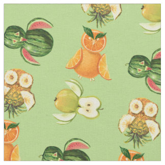 Fruit owls tropical summer pattern fabric