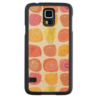 Fruit pattern carved maple galaxy s5 case