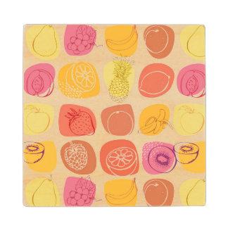 Fruit pattern wood coaster