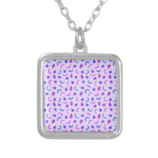 Fruit Salad in Purple Silver Plated Necklace
