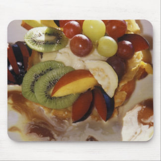 Fruit salad with ice cream. mouse pad