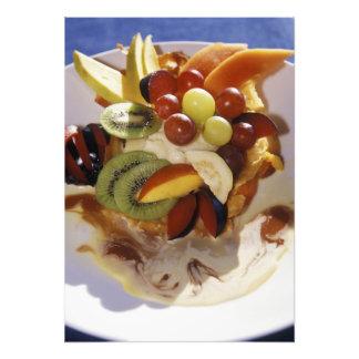 Fruit salad with ice cream. photo print