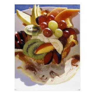 Fruit salad with ice cream. postcard