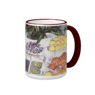 Fruit Stand by Caillebotte, Vintage Impressionism Ringer Mug