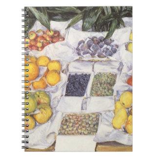 Fruit Stand by Caillebotte, Vintage Impressionism Spiral Note Book