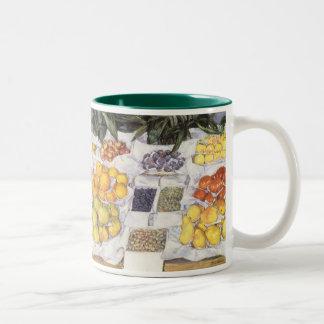 Fruit Stand by Caillebotte, Vintage Impressionism Two-Tone Mug