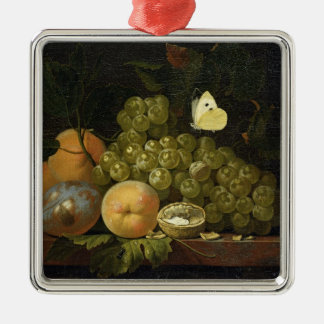 Fruit Study Silver-Colored Square Decoration