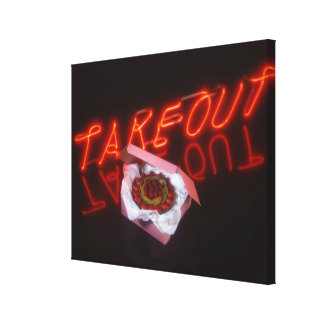 Fruit tart with neon take-out sign