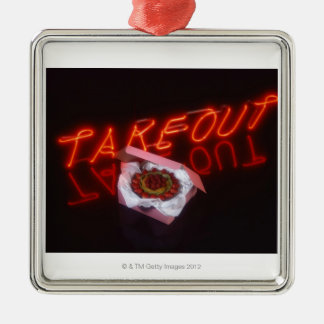 Fruit tart with neon take-out sign christmas ornament
