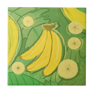 Fruit Tile: Bananas Small Square Tile