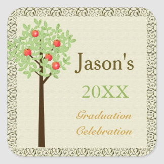 Fruit tree graduation party envelope seal square sticker