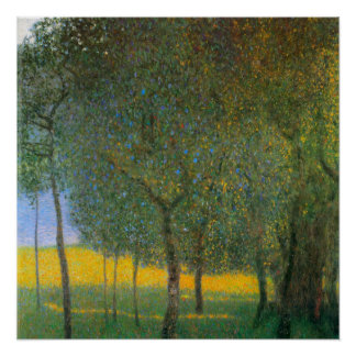 Fruit Trees by Gustav Klimt, Vintage Art Nouveau Poster