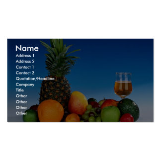 Fruit varieties and juice pack of standard business cards