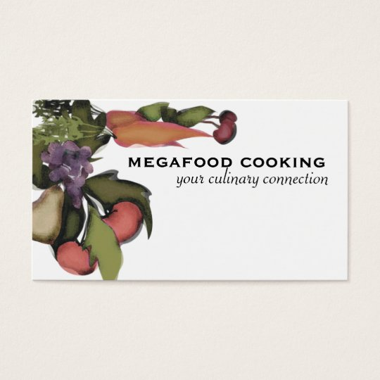 Fruit vegetable mega plant cooking business car... business card