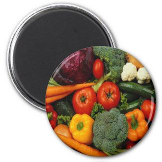 FRUIT & VEGETABLES 6 CM ROUND MAGNET