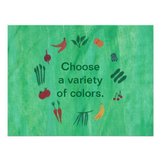 Fruit Vegetables Choose Variety of Colors Posters