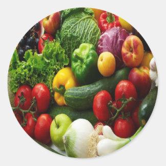 FRUIT & VEGETABLES ROUND STICKER