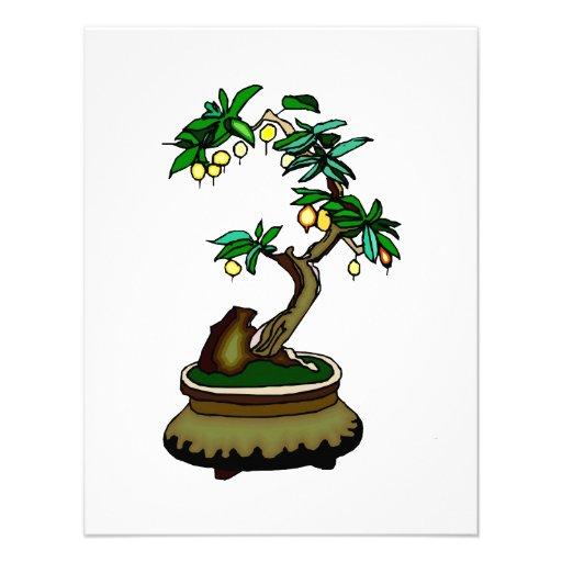 Fruiting Bonsai in Pot Bonsai Graphic Image Custom Invitation
