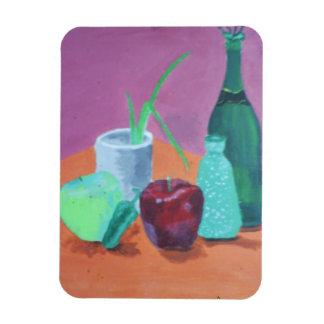 Fruits and Bottles Still Life Rectangular Photo Magnet