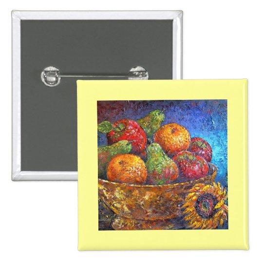 Fruits and Sunflower Painting Art - Multi 15 Cm Square Badge