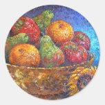 Fruits and Sunflower Painting Art - Multi Round Sticker