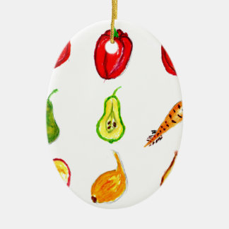 Fruits and Vegetables Art Ceramic Oval Decoration
