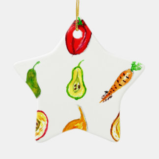 Fruits and Vegetables Art Ceramic Star Decoration