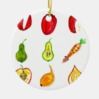 Fruits and Vegetables Art Round Ceramic Decoration