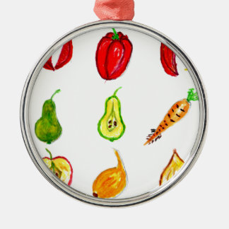 Fruits and Vegetables Art Silver-Colored Round Decoration